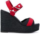Versace raffia platform open-toe sandals - women - Leather/Polyester/rubber - 37