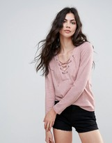 Only Elcos Sandy Lace Up Long Sleeved Tee