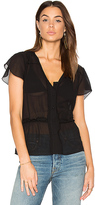 Frame Windowpane Blouse in Black