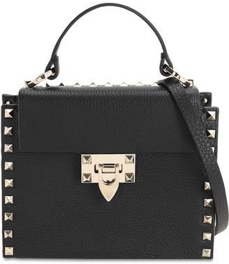Valentino Rockstud Grained Leather Top Handle Bag