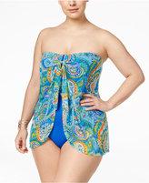 Lauren Ralph Lauren Plus Size Carnivale Paisley Tummy-Control Flyaway One-Piece Swimsuit
