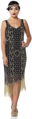 Isabella Collection Gatsbylady London Fringe Flapper Dress in Black Gold