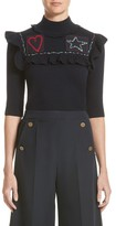 Valentino Garavani Women's Valentino Embroidered Ruffle Wool Sweater