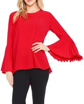 Vince Camuto Pleated Bell Sleeve High Low Blouse