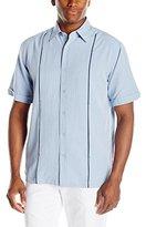 Cubavera Men's Short Sleeve Houndstooth Insert Panel Woven Shirt