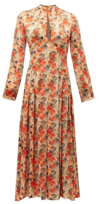 Raquel Diniz Alma Pleated Floral-print Silk Dress - Nude Multi