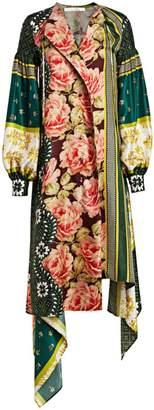 Oscar de la Renta Blouson Sleeve Patchwork Silk Dress