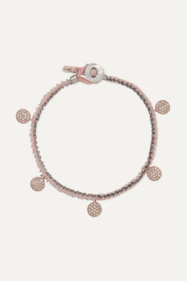 Brooke Gregson Sterling Silver, 14-karat Rose Gold, Silk And Diamond Bracelet - one size