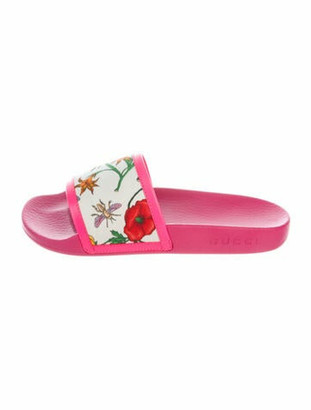 Gucci Blooms Print Rubber Slides Pink