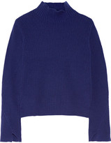 Proenza Schouler Ribbed Wool And Cashmere-blend Turtleneck Sweater - Storm blue