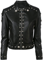 John Richmond floral studded biker jacket - women - Polyester/Lamb Skin - M