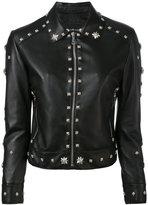 John Richmond floral studded biker jacket - women - Polyester/Lamb Skin - S