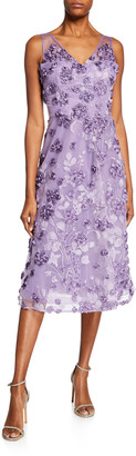 Rickie Freeman For Teri Jon Tulle Tea-Length Dress w/ Floral Appliques