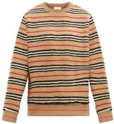 Burberry Edson Icon-striped Fleece Sweater - Mens - Beige Multi