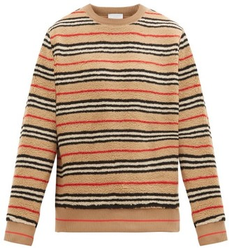 Burberry Edson Icon-striped Fleece Sweater - Beige Multi