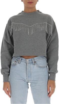 Chiara Ferragni Crystal Fringe Cropped Sweatshirt