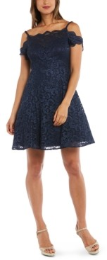 Morgan & Company Juniors' Cold-Shoulder Lace Fit & Flare Dress