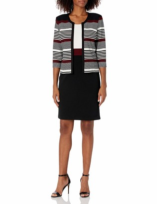 Sandra Darren Women's 2 PC 3/4 Sleeve Bullet Knit Printed Stripe Jacket Dress