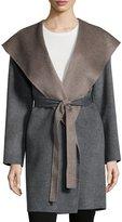 Fleurette Double-Face Hooded Wool Wrap, Gray
