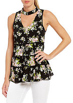 Miss Chievous Floral Print Choker Neck Babydoll Top