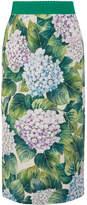Dolce & Gabbana Floral-print Silk-blend Charmeuse Midi Skirt - Green