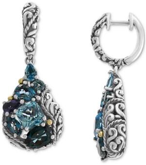 Effy Multi-Gemstone Teardrop Drop Earrings (7-1/2 ct. t.w.) in Sterling Silver & 18k Gold-Plate