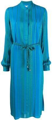 ZEUS + DIONE Tie Waist Mandarin Collar Dress