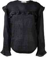 Chloé ruffle striped top - women - Cotton/Ramie - 36