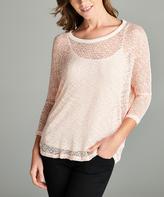 Peach Sheer Open-Knit Long-Sleeve Top