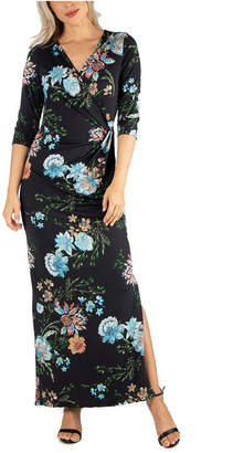 24seven Comfort Apparel Women Ankle Length Side Slit Floral Maxi Dress