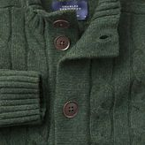 Charles Tyrwhitt Olive lambswool cable cardigan