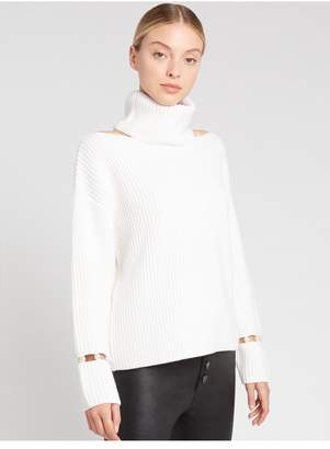 Alice + Olivia Lara Cold Shoulder Pearl Pullover