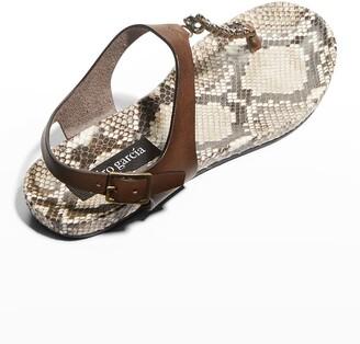 Pedro Garcia Jelan Crystal Python-Print Thong Sandals