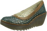 Fly London Womens YIKA733FLY Wedge Green Leather Shoes 37 EU