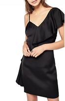 Miss Selfridge Asymmetric Ruffle Dress, Black