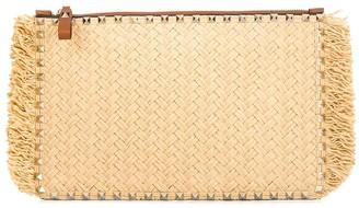 Valentino large Rockstud raffia clutch