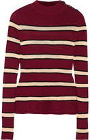 Etoile Isabel Marant Devona Striped Stretch-knit Sweater - Burgundy