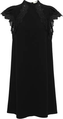 Rebecca Taylor Lace-trimmed Stretch-crepe Mini Dress