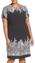 Adrianna Papell Plus Size Women's Placed Print Stretch Sheath Dress