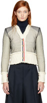 Thom Browne Off-White Inside-Out V-Neck Tailored Aran Cardigan
