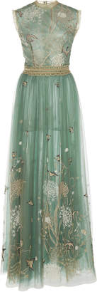 Costarellos Story-Telling Embroidered Tulle Dress