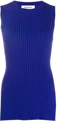 Enfold Side Slit Knitted Tank Top
