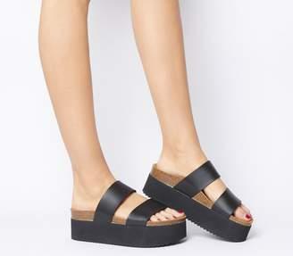 Office Mambo Flatform Two Strap Sandals Black