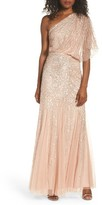 Adrianna Papell Women's Sequin One-Shoulder Gown