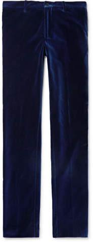 Etro Royal-Blue Slim-Fit Grosgrain-Trimmed Velvet Trousers