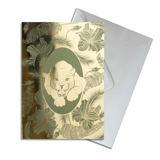 The Curious Department Elemental Panther Gold Greeting Card Pack of 10