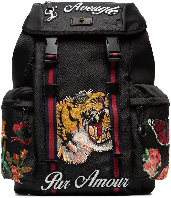 Gucci black tiger embroidered backpack