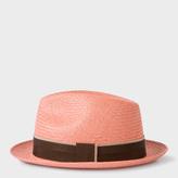 Paul Smith Men's Pink Straw Panama Hat