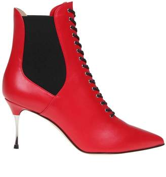Sergio Rossi Red Leather Ankle Boot