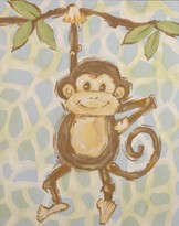 The Well Appointed House Renditions by Reesa Hand Painted Safari Monkey Canvas-Available in Two Different Colors